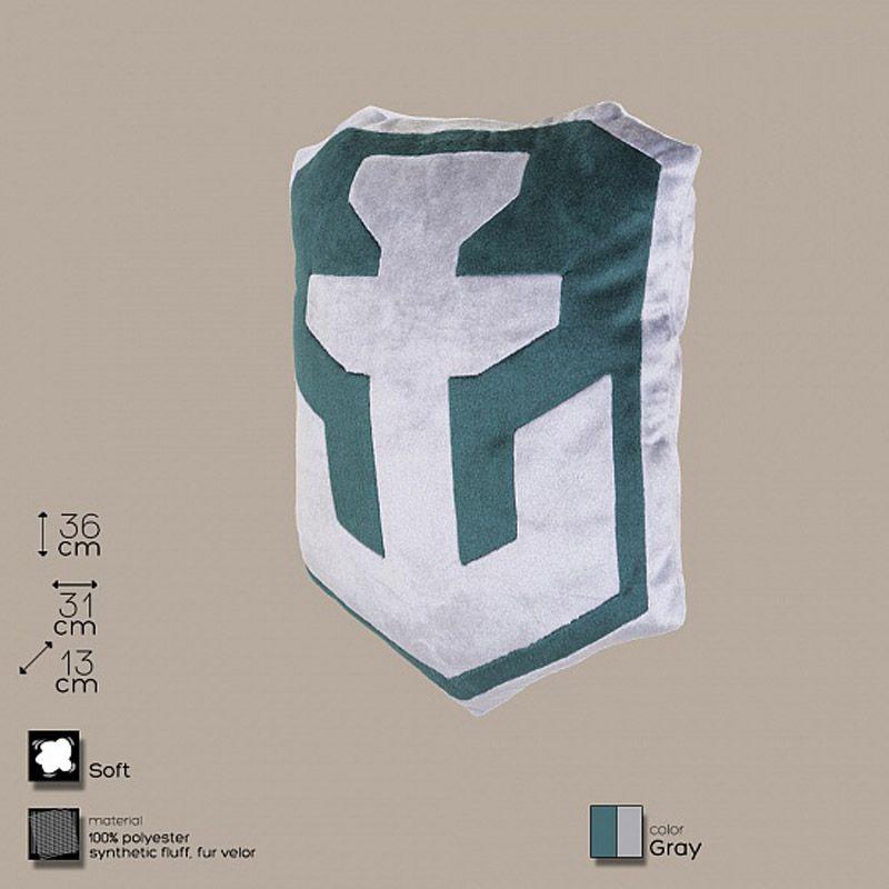 Декоративная подушка, лого игры «World of Warships» серо-зеленаяПодарки<br>«World of Warships» в вашей спальне или автомобиле.<br>Размер: 36 х 31 х 13 см; Объем: None; Материал: Полиэстер; Цвет: Серый;