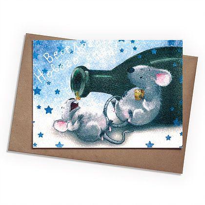 Поздравительная открытка Мыши новогодние