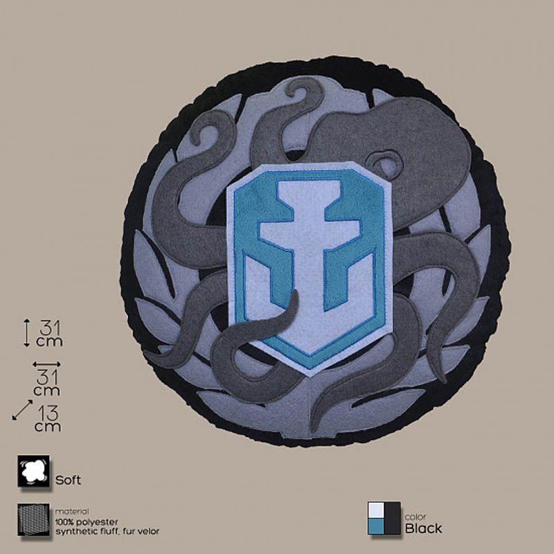 Декоративная подушка, лого игры «World of Warships», круглая, зелено-черно-бело-сераяИнтерьер<br>«World of Warships» в вашей гостиной.<br>Размер: 31 х 13 см; Объем: None; Материал: Полиэстер; Цвет: Комбинированный;