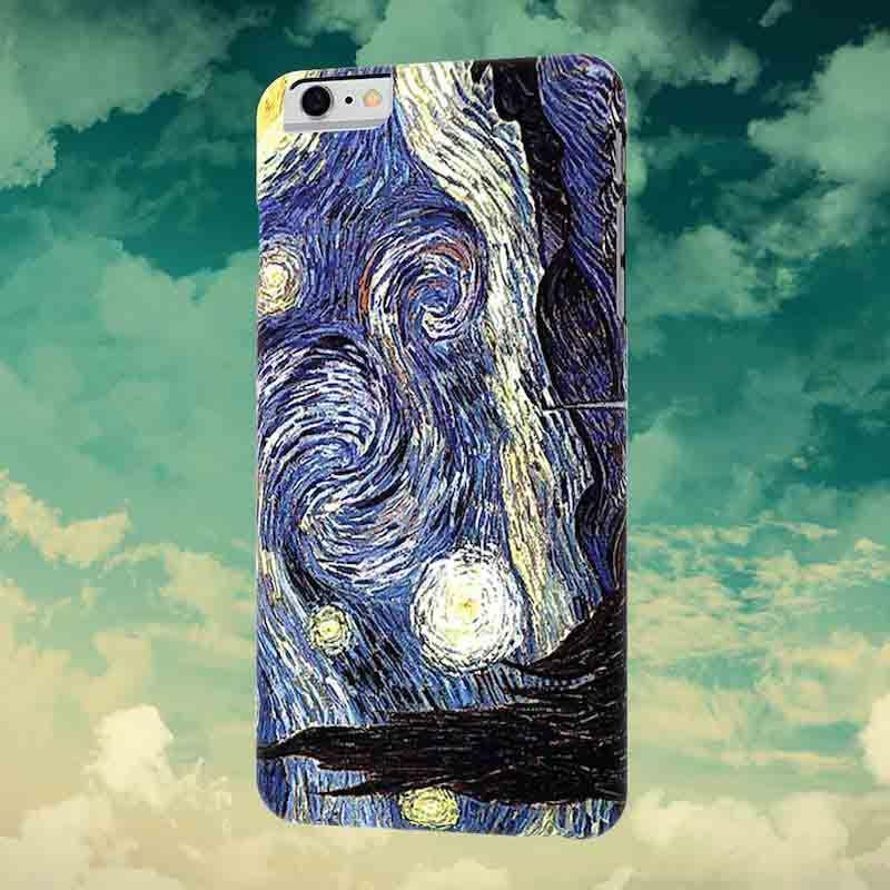 Чехол Картины для iPhone 6/6S(Ван Гог Звездная ночь)Чехлы для телефона<br>Вы любите искусство и телефоны, новинка - чехол картины, просто подарок.<br>Размер: None; Объем: None; Материал: Пластик; Цвет: Синий;
