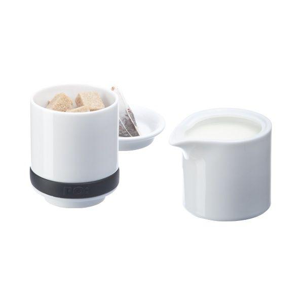 Набор Сахарница + молочник 2 в 1 RingДля напитков, вина и алкоголя<br>Набор Сахарница + молочник 2 в 1 (Ring)<br>Размер: 15.5 х 8 х 8 см.; Объем: None; Материал: Фарфор, силикон; Цвет: Белый / Черный;