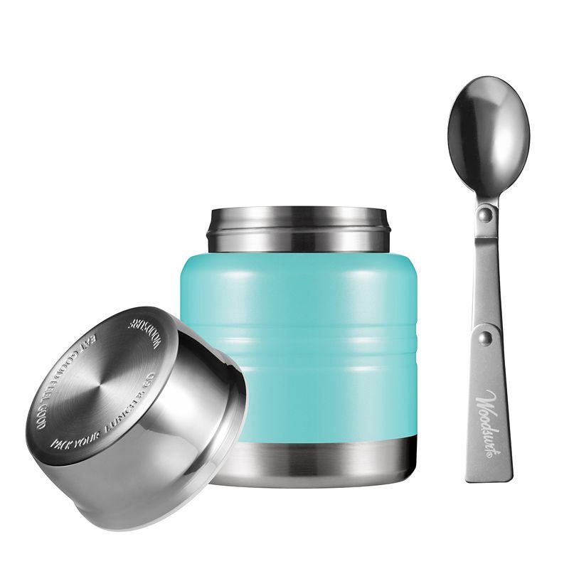 Термос для еды Lunch Spot, мятный глянец, 350 млПодарки<br>Термос для еды мятного цвета со складной ложкой. Приятного аппетита и вам и вашим знакомым, ведь совместный обед останется горячим на протяжении всего дня. Нержавеющая сталь и прочная оболочка не дадут обеду ускользнуть.<br>Размер: 115 х 195 х 115 см; Объем: 350 мл; Материал: Нержавеющая сталь, пластик; Цвет: Мятный;