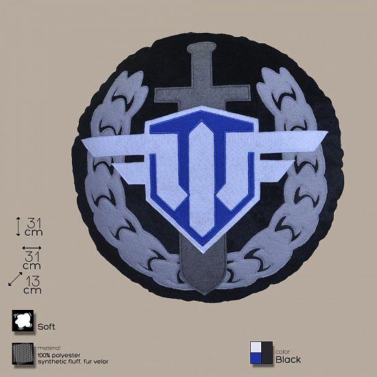 Декоративная подушка, лого игры «World of Warplanes», круглая, сине-черно-бело-сераяИнтерьер<br>Декоративная подушка для поклонников танчиков.<br>Размер: 31 х 13 см; Объем: None; Материал: Полиэстер; Цвет: Комбинированный;