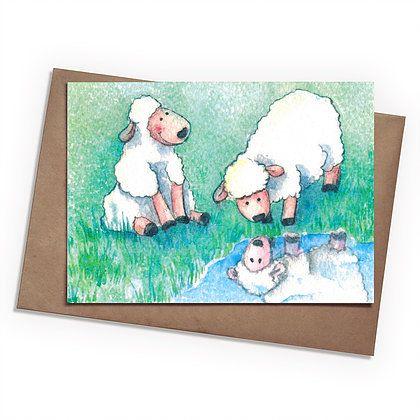 Поздравительная открытка Овечки на лугуПодарки<br>Поздравительная открытка Овечки на лугу<br> <br> Любой необычный подарок можно дополнить такой же интересной открыткой от магазина подарков Разверни.<br>Размер: None; Объем: None; Материал: Бумага; Цвет: Комбинированный;