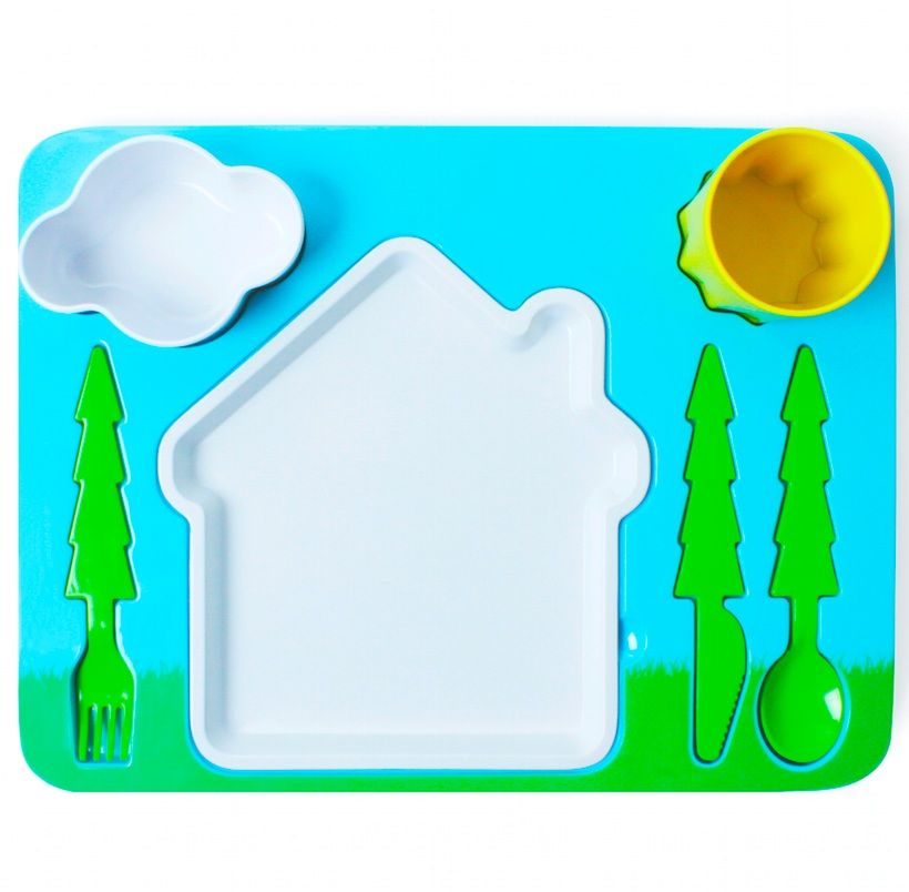 Поднос-сервиз для ребенка LandscapeКосмос<br>Поднос-сервиз Пейзаж (Landscape)<br>Размер: 37 x 27 x 8.5 см.; Объем: None; Материал: Пищевой пластик / акрил; Цвет: None;