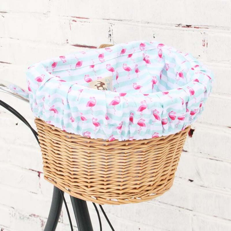 Плетеная корзина ФлорентинаДля велосипеда<br>Флорентина, а не корзина.<br>Размер: 37 х 24.5 х 28 см; Объем: None; Материал: Текстиль; Цвет: Белый / Розовый;