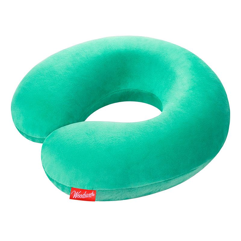Подушка для путешествий La Siesta Memory Foam, чехол, мятныйПодарки<br><br>Размер: 30 x 29 x 6 см; Объем: None; Материал: Хлопок; Цвет: Мятный;