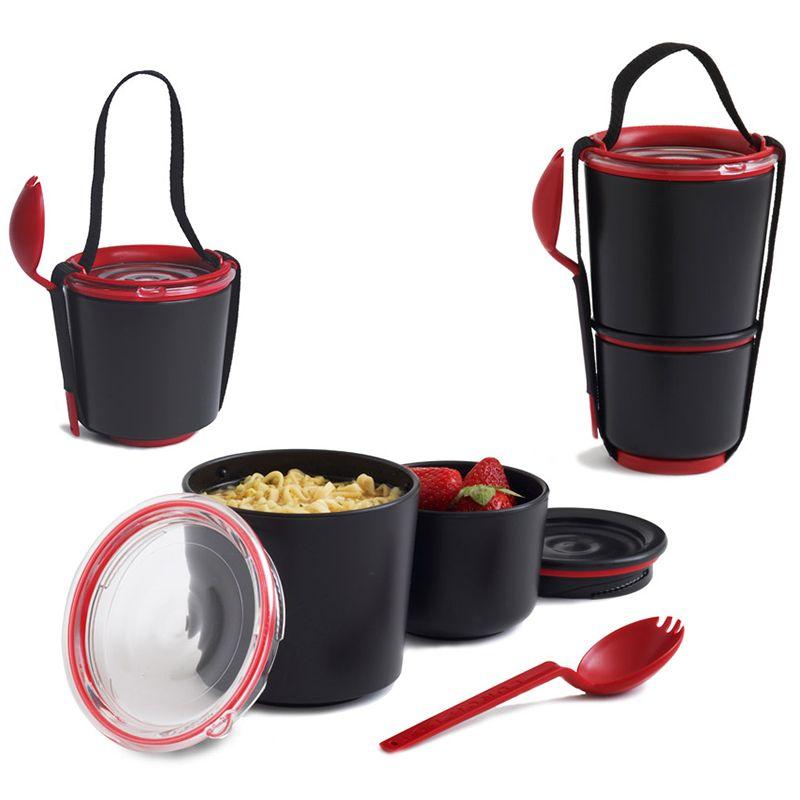 Ланч - бокс Lunch Pot черныйПодарки<br>Ланч - бокс Lunch Pot (черный)<br>Размер: 19 x 11.6 x 11.5 см.; Объем: None; Материал: Полипропилен; Цвет: Черный / Красный;