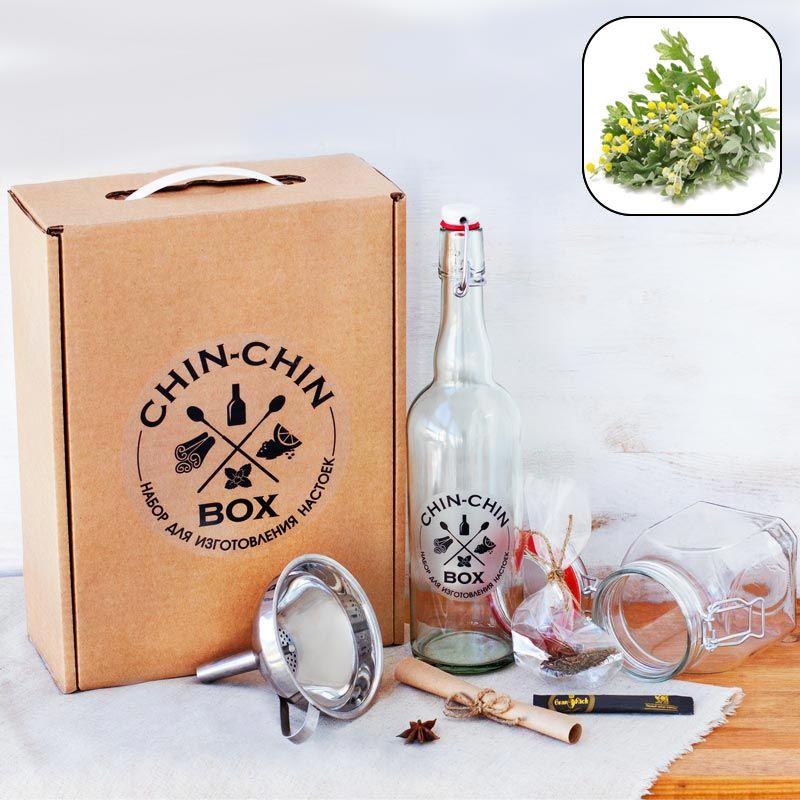 Набор для приготовления Chin-Chin Box - Вермут по-КаталонскиПодарки<br>Кто бы мог знать, как сделать напиток самому да и еще Вермут по-Каталонски. Так вот вам коробочка с ответом и готовым рецептом.<br>Размер: 33 х 25 х 10 см; Объем: None; Материал: Дерево, стекло, металл; Цвет: None;