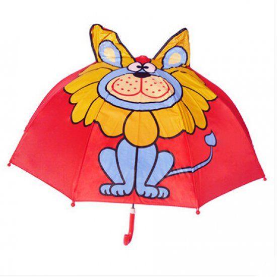 Зонт детский ЛевРебенку<br>Зонт детский Лев<br> <br> С таким зонтиком не страшно и под дождем прогуляться, необычный подарок каждому ребенку.<br>Размер: 60 х 66 см; Объем: None; Материал: Полиэстер; Цвет: Желтый;