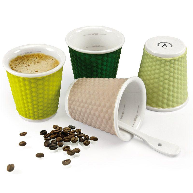 Набор из 4-х чашек Соты (Honeycomb) (Изумрудный/зеленый/салатовый/белый)