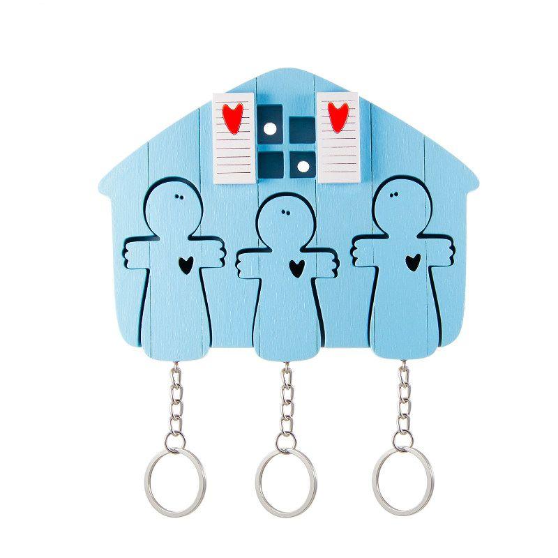 Ключница деревянная на три ключа Ангел голубаяПодарки<br>Ангел - хранители или просто ключница с ангелочками.<br>Размер: 12 х 9 см; Объем: None; Материал: Дерево, металл; Цвет: Голубой;