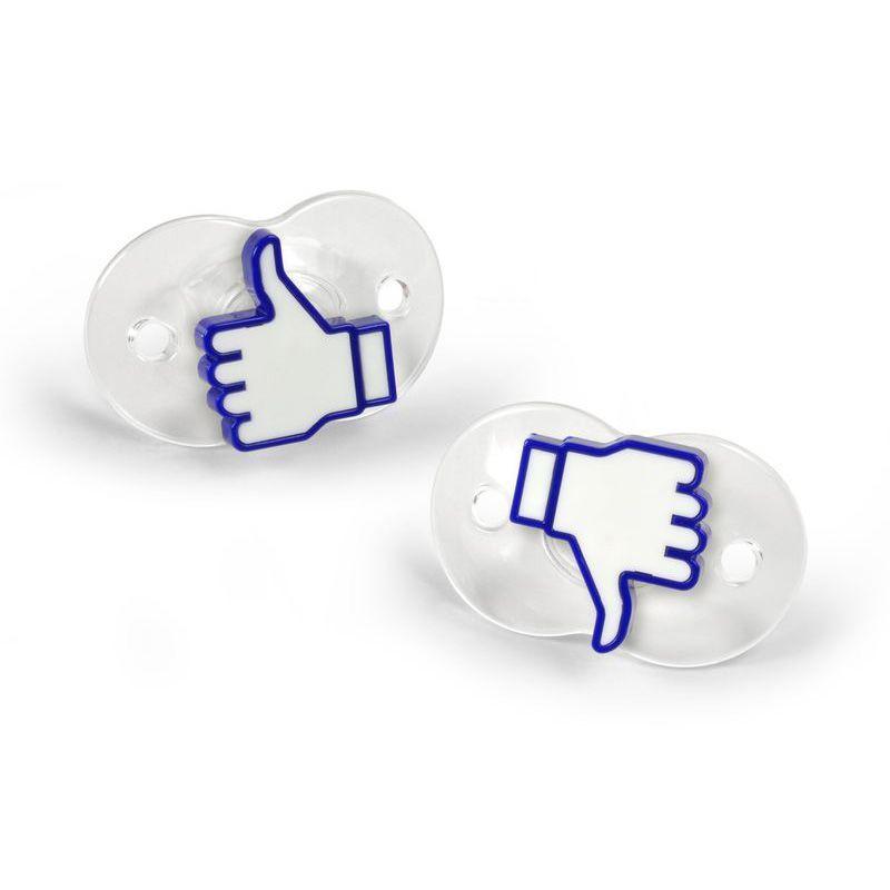 Соска - пустышка Лайк Chill BabyОвну<br>Соска Лайк Остынь детка (Chill Baby)<br>Размер: 14 х 11 х 5.5 см.; Объем: None; Материал: Силикон; Цвет: Белый / Голубой;