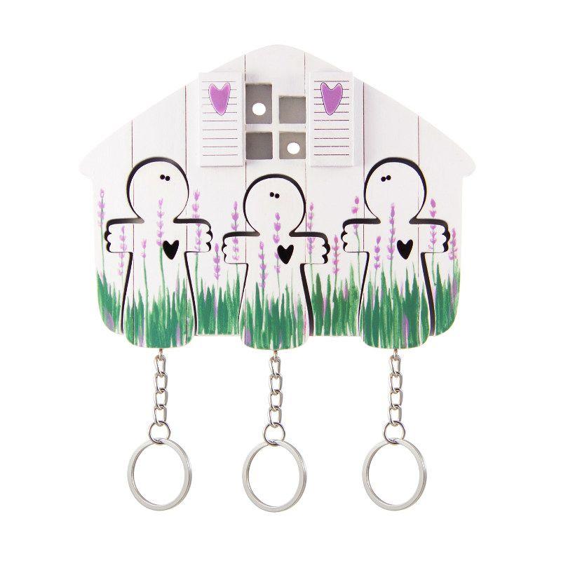 Ключница деревянная на три ключа Ангел лавандаПодарки<br>Ключница деревянная в подарок на новоселье.<br>Размер: 12 х 9 см; Объем: None; Материал: Дерево, металл; Цвет: Белый / Зеленый;