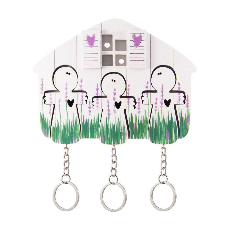 Ключница деревянная на три ключа Ангел лавандаДержатели для ключей<br>Ключница деревянная в подарок на новоселье.<br>Размер: 12 х 9 см; Объем: None; Материал: Дерево, металл; Цвет: Белый / Зеленый;