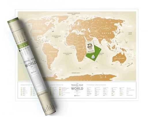 Скретч карта мира GoldПодарки<br>Собирай свои впечатления, отмечай страны на карте с помощью монетки и начинай писать свой бестселлер! Или заведи свой тревел-блог.<br>Размер: 80 х 60; Объем: None; Материал: Пластик; Цвет: Золото;