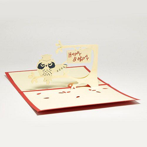 Объемная открытка 3D С Днем Рождения (Сова)
